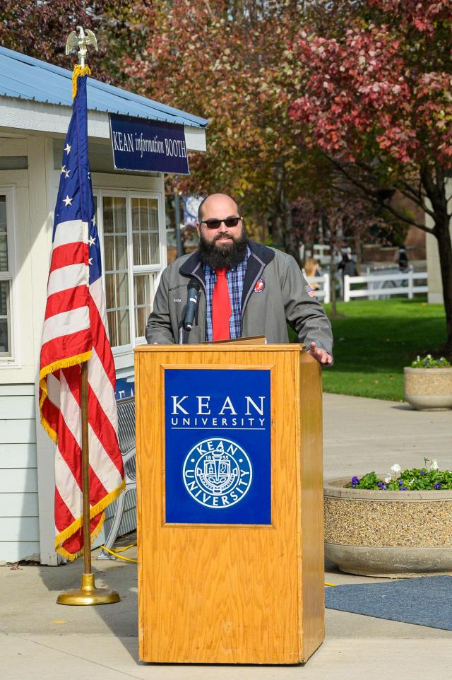 Vito Zajda speaks at Kean's Veteran's Day ceremony