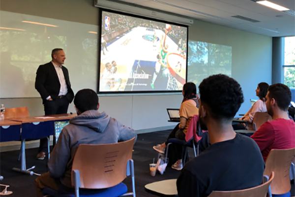 Chris Halton of the NBA speaks to Kean students