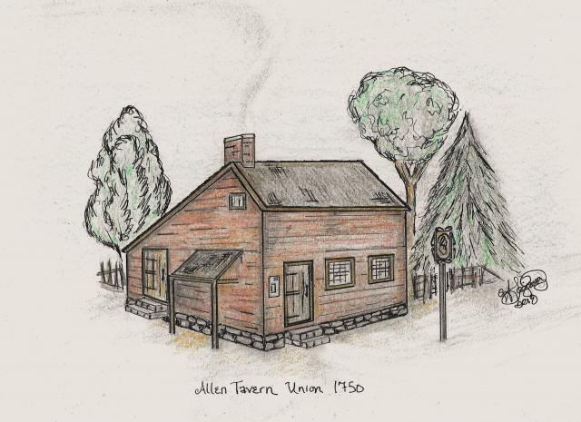 A pencil drawing of the Allen Tavern