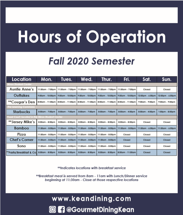Dining Hours of Operation