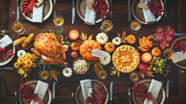 A Thankgiving feast on a table