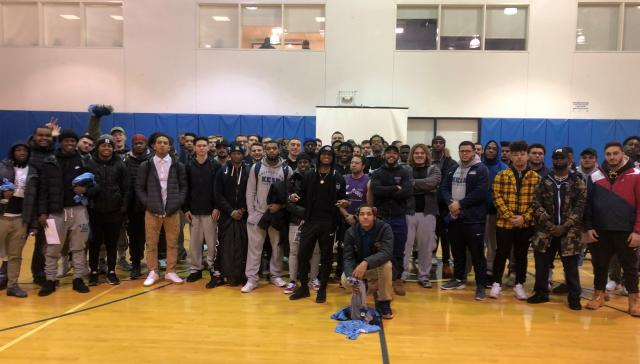 Brad Butler II is a motivational speaker and Kean grad. He spoke to Kean's football team.