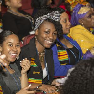 students at kean university's african heritage graduation ceremony