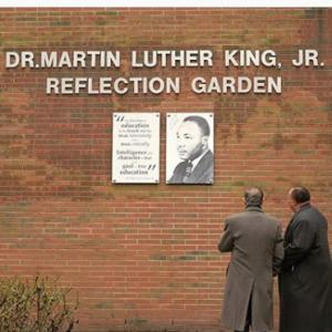 Martin Luther King III and Dawood Farahi in Kean's Reflection Garden